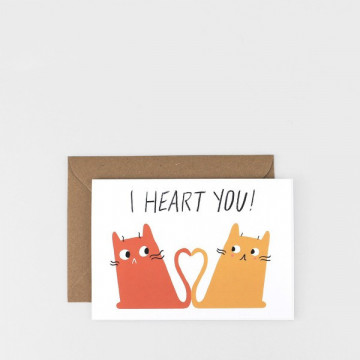 Carte Chats I Heart You
