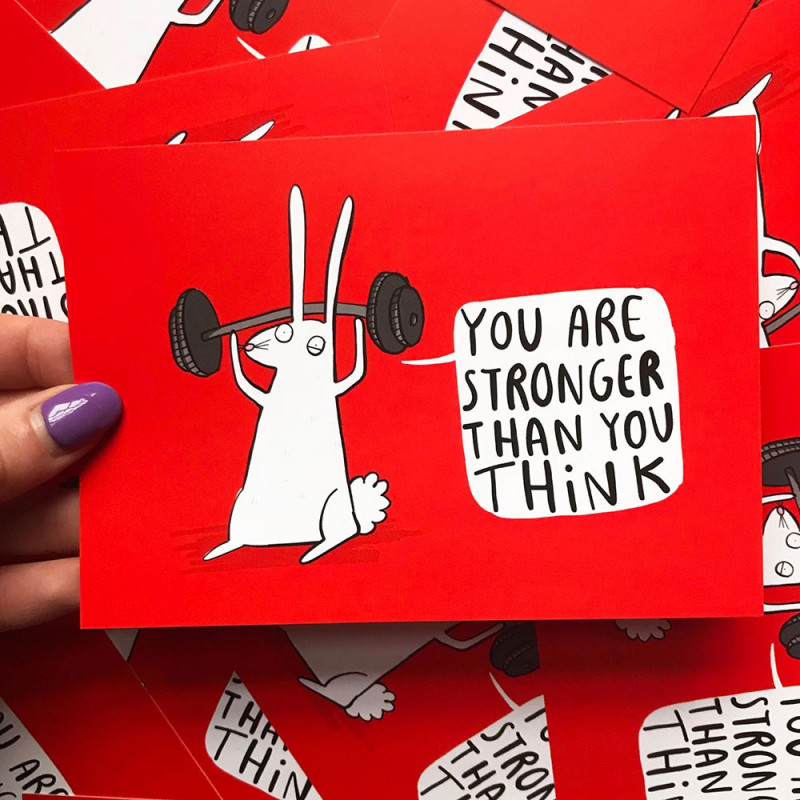 """Carte Lapin """"You are stronger"""""""