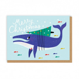 Carte Merry Christmas Baleine