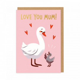 Carte love you mum - cygne