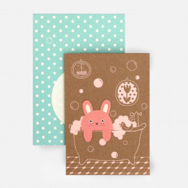 Carte Marque-Page Bubble Lapin Rose